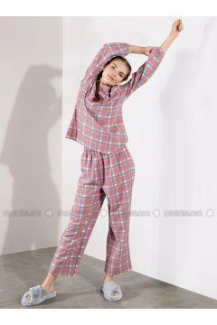 Red - Plaid - Viscose - Pyjama - Akel(110331066)