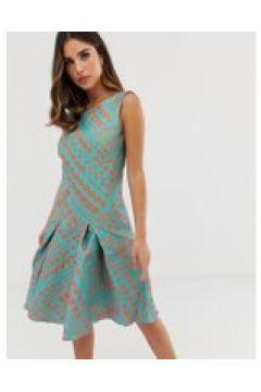 Closet - Kleid mit ausgestelltem Saum in Gold - Blau(95023699)