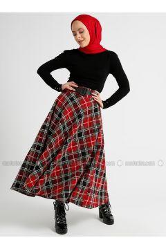Maroon - Multi - Half Lined - Skirt - Panaline(110339883)