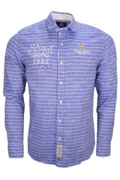 Chemise La Martina Chemise en lin rayée bleue pour homme(115389215)