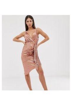 TFNC Tall - Mini-Paillettenkleid in Roségold mit Wickeldesign vorne - Gold(95023420)