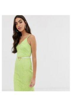 Paper Dolls Tall - Vestito in pizzo lime con spalline e cintura-Verde(120334600)