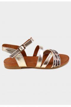 KAMMI Gold Hakiki Deri Kadın Comfort Sandalet(118223708)