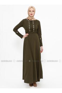 Khaki - Crew neck - Unlined - Dresses - Laruj(110319701)