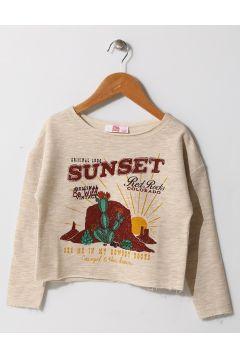 Pink&Orange Çocuk Baskılı Bej Sweatshirt(113957477)