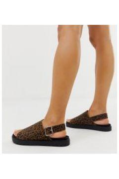 Monki - Sandali flatform marrone leopardato con cinturino posteriore(120296863)