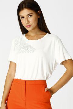 House Of Camellia Kadın Bisiklet Yaka Ekru T-Shirt(122616652)