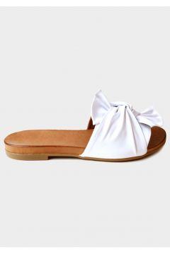 SHOELAB Beyaz Hakiki Deri Kadın Comfort Terlik(124970232)