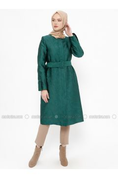 Green - Fully Lined - Crew neck - Topcoat - Tekbir(110335683)