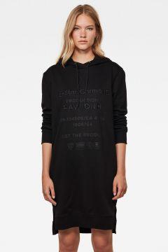 G-Star RAW Women Graphic Text BF Hooded Sweat Dress Black(120180331)