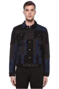 John Varvatos Star USA Erkek Colorblocked Polo Yaka Denim Ceket S EU(108972725)