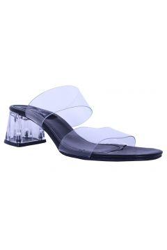 Derigo Kadın Siyah Şeffaf Bantlı Topuklu Terlik(120457424)