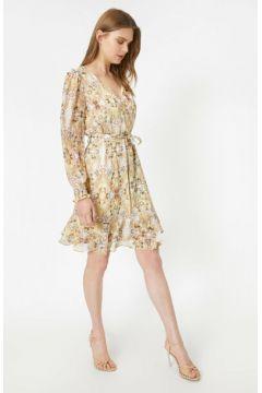Koton Kadın V Yaka Desenli Beli Baglamali Uzun Kollu Midi Elbise(124576257)