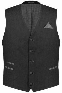 Weis: Modische Anzug-Weste mit Brusttasche und Tuch, 68, Dunkelgrau(121717422)
