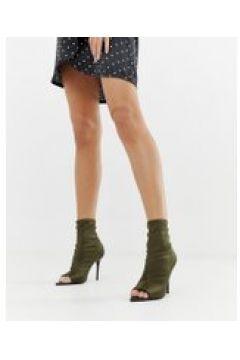 ASOS DESIGN - Esther - Anliegende Stiefel mit offener Zehenpartie und Stilettoabsatz in Khaki - Grün(95025175)