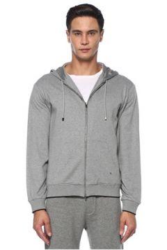 Luciano Barbera Erkek Gri Kapüşonlu Sweatshirt 58 EU(121159524)
