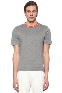 Eleventy Erkek Gri Yakası Şerit Ribanalı Basic T-shirt L EU(108810060)