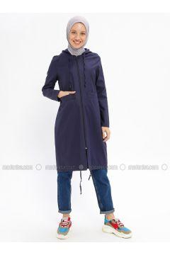 Navy Blue - Unlined - Crew neck - Cotton - Trench Coat - Beha Tesettür(110315313)