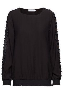 Blouse W. Fringe Lace Detail Bluse Langärmlig Schwarz COSTER COPENHAGEN(114150687)