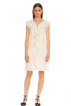 Karl Lagerfeld-Karl Lagerfeld Fırfır Detaylı Beyaz Elbise(118837769)