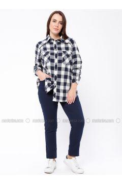 Navy Blue - Plus Size Pants - RMG(110322987)