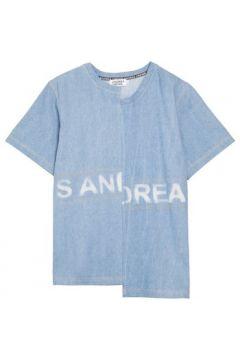 T-shirt Andrea Crews Stone-washed denim tee-shirt Blue(88685577)