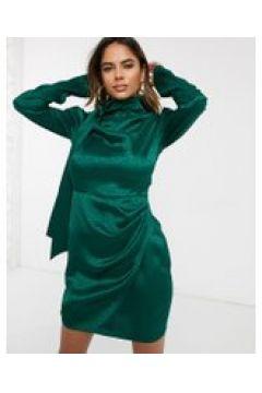 Public Desire - Vestito corto in raso con gonna a portafoglio, stampa animalier e allacciatura al collo-Verde(120324401)