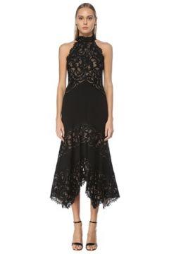 Tadashi Shoji Kadın Siyah Asimetrik Kesim Midi Abiye Elbise 0 US(124437609)