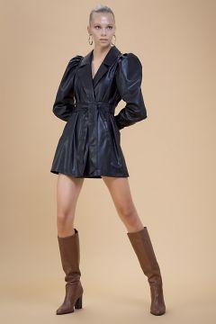 Selma Çilek Beli Bağcıklı Siyah Elbise(123014383)