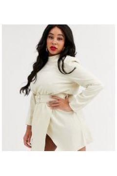 In The Style x Stephsa Plus - Vestitino accollato scintillante crema con cintura-Bianco(120332897)