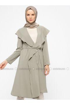 Khaki - Unlined - Shawl Collar - Topcoat - ModaNaz(110315007)