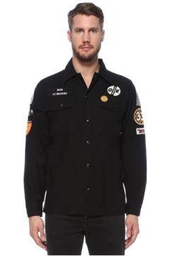 Deus Ex Machina Erkek Siyah Polo Yaka Patch Detaylı Gömlek S EU(124682445)