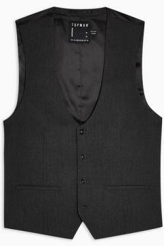 Gilet de costume slim gris à cinq boutons(87063152)