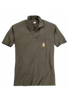 "Hubertus: Bequemes Poloshirt mit \""Hirsch-Stickerei\"", kurzarm, 3XL, Oliv(121716773)"