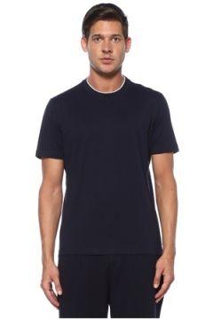 Brunello Cucinelli Erkek Lacivert Yaka Detaylı Basic T-shirt 48 IT(119423230)