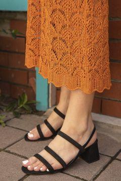 STRASWANS Kadın Siyah Süet Topuklu Sandalet(120144170)