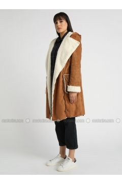 Tan - Unlined - Shawl Collar - Puffer Jackets - MOODBASİC(110339158)