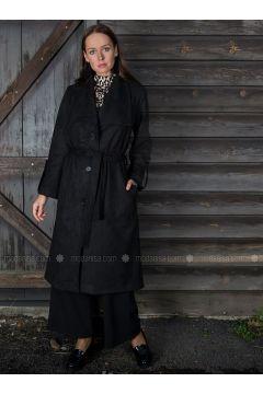 Black - Fully Lined - Shawl Collar - Trench Coat - Ayşen Özen(110327061)