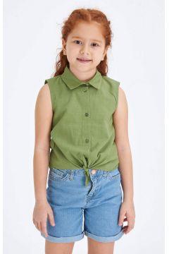 DeFacto Kız Çocuk Basic Bağlama Detaylı Kolsuz Dokuma Gömlek(119061630)
