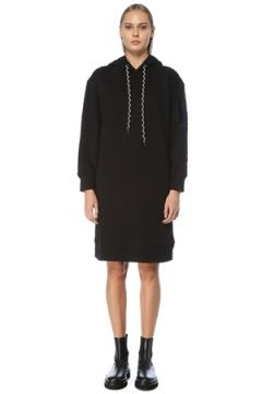 Moncler Kadın Siyah Kapüşonlu Midi Sweatshirt Elbise S EU(124437833)