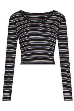 Gestreiftes, kurzes Langarm-Shirt(111106062)