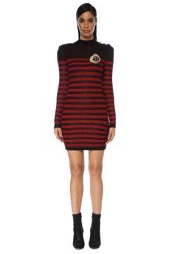 Balmain Kadın Kırmızı Siyah Çizgili Uzun Kol Mini Elbise 36 FR(119423160)