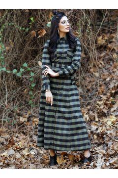 Khaki - Plaid - Point Collar - Unlined - Dresses - Gizem Kış(110334905)