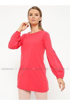 Coral - Crew neck - Cotton - Tunic - Meliana(110319644)