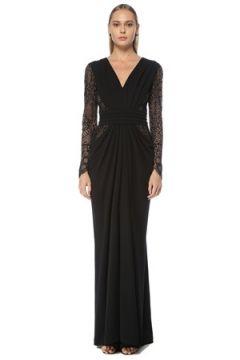 Tadashi Shoji Kadın Siyah Drapeli Dantel Garnili Maxi Abiye Elbise S EU(124437615)