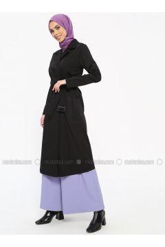 Black - Unlined - Shawl Collar - Cotton - Trench Coat - Tavin(110330894)