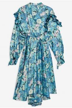 Balenciaga Kadın Mavi Çiçek Desenli Midi İpek Elbise 36 FR(116387525)