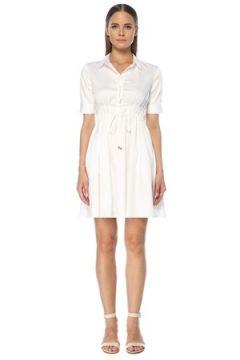 Network Kadın Beyaz Pilili Beli Bağcıklı Mini Gömlek Elbise 36 EU(118330149)