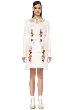 Prada Kadın Beyaz Nakış Detaylı Asimetrik Midi Poplin Elbise 38 IT(107433722)