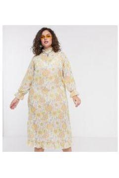 New Girl Order Curve - Vestito lungo a pieghe accollato trasparente a fiori slavato-Multicolore(120332370)